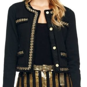 MK black denim blazer with gold chain trim